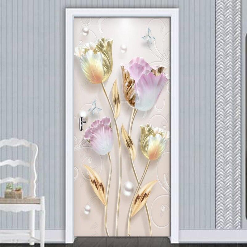 Новые современные рельефные дверные наклейки с цветами тюльпана, настенные ПВХ Самоклеящиеся 3D обои для гостиной, спальни, дверные декорат...