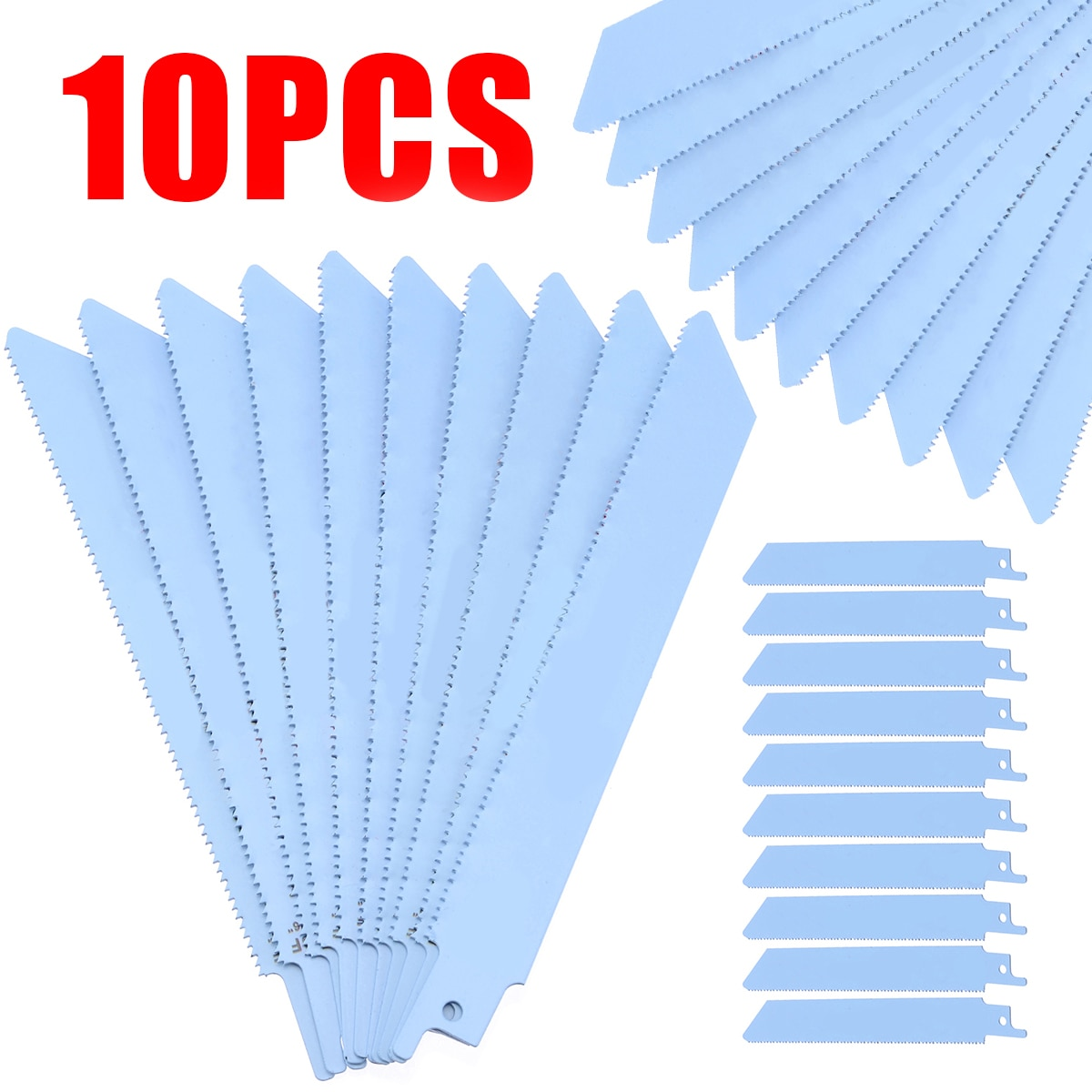 10pcs 150mm 6 Reciprocating Sabre Saw Blades Blue High Quality S922BF Saw Blades for Metal Cutting