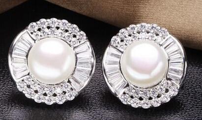 Venta caliente nueva-hj 00763 genuino 11-12mm blanco pendientes de perlas de los mares del sur