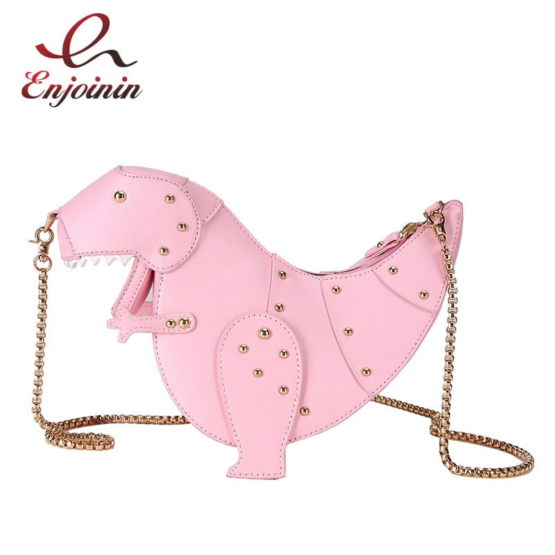 Dinosaur Design Rivets Women's Purses and Handbags Shoulder Chain Bag Designer Small Crossbody Bag Female Clutch Bag Pu Leather
