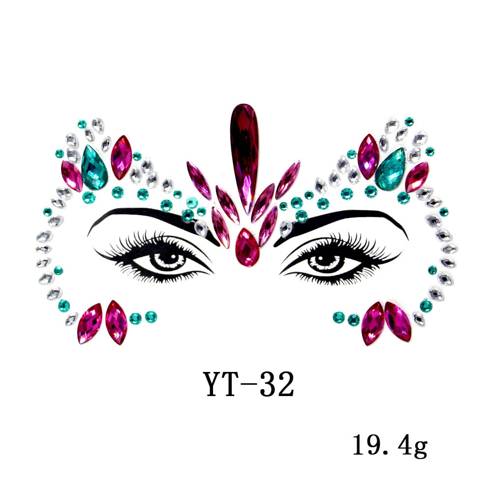 Fashion Women DIy New Face Jewels Rhinestones Beauty  Glitter Tattoo Electric Syllable Nightclub Party Performance Body Jewelry