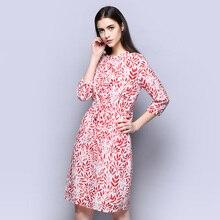 100% Silk Crepe Dress Light Grey and Pink Versions for option Three Quarter Sleeve Women Dress S-XXL