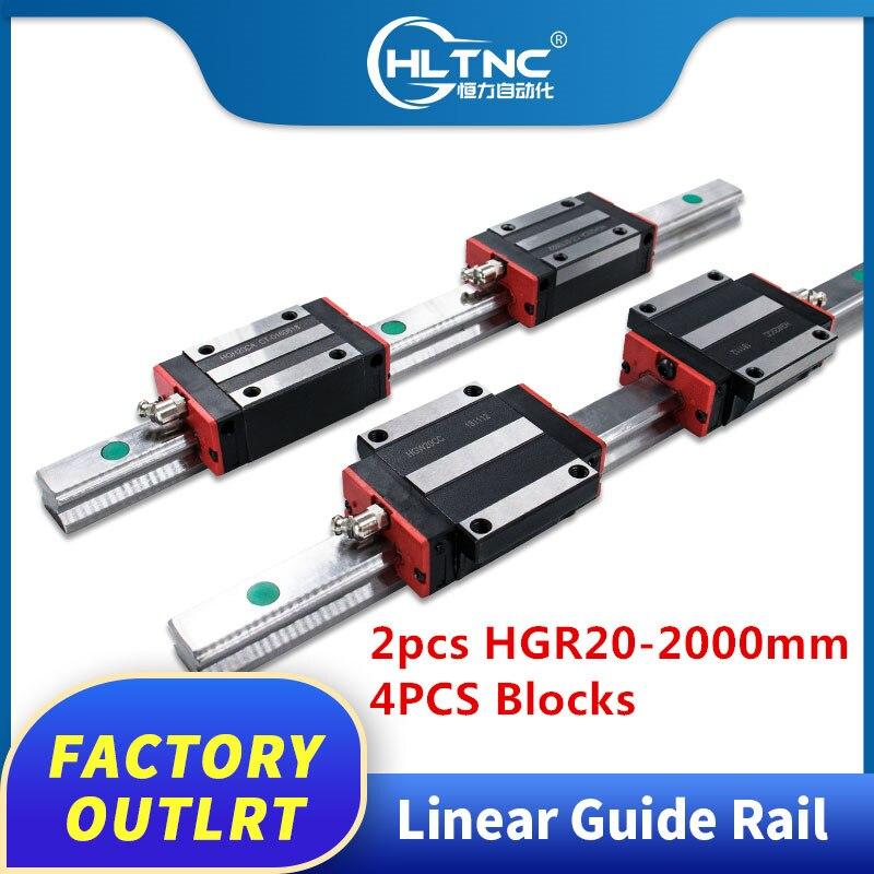 China hiwin tamaño 2 juegos HGR20-2000mm carril lineal y 4 Uds hmw20cc/HGH20CA cojinete de bloque para enrutador Cnc