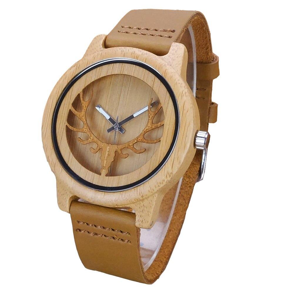 Relojes de madera de bambú con cabeza de ciervo para hombre de Aismei, relojes de lujo de madera de bambú con reloj de cuarzo de cuero como regalo