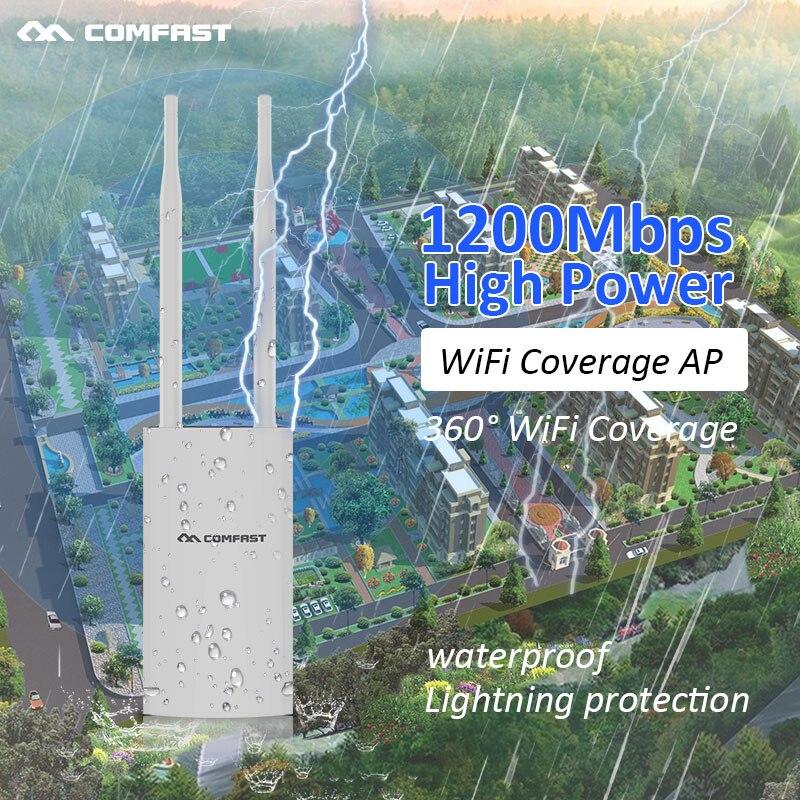جهاز توجيه wi-fi Ethernet ، بعيد المدى ، 1200 ميجابت في الثانية ، Poe ، نقطة وصول لاسلكية خارجية ، AP ، openWRT ، مع هوائيات 2 * 5dBi ، محطة أساسية