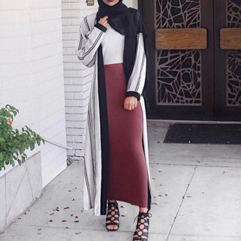 2020 Bodycon sólido Falda Mujer falda Longue elegante Modest musulmán islámico cálido lápiz Falda larga gruesa vendaje Maxi falda