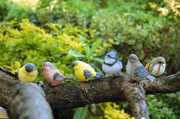 Playful Magpie Birds Statue Outdoor Artificial Bird Resin Bird 6 Pieces A Set Garden Decor Home Decor Art
