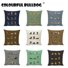 Gran oferta, funda de almohada para yoga para perros, funda de cojín con diseño de perro Husky Bull Terrier, decoración para el hogar, asiento de coche, funda de almohada de lino y algodón