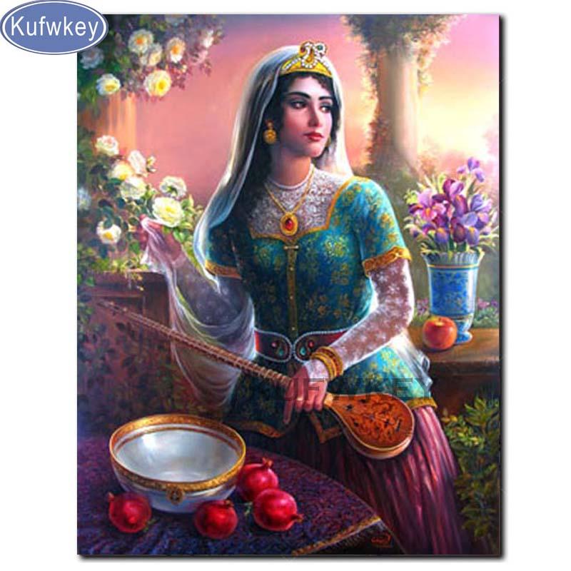 Kufwkey, mosaico de diamantes, diosa de Irán, bordado cuadrado completo, pintura de diamantes, punto de cruz, imagen 3D de decoración de pasatiempo de diamantes de imitación