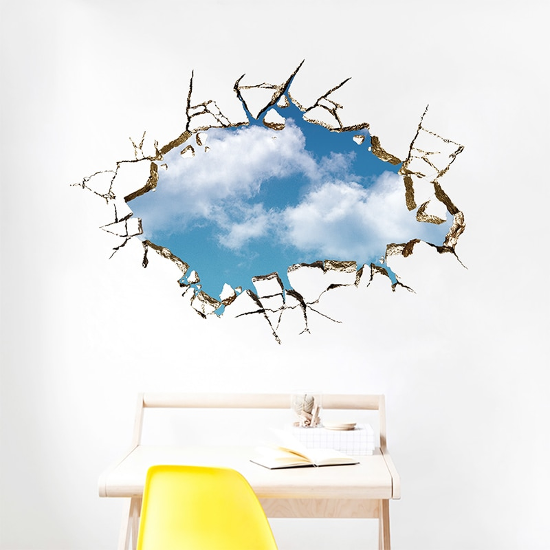 3D ventana vívida paisaje pegatinas de pared cielo azul nube blanca decoración del hogar para la sala de estar PVC Mural papel tapiz autoadhesivo