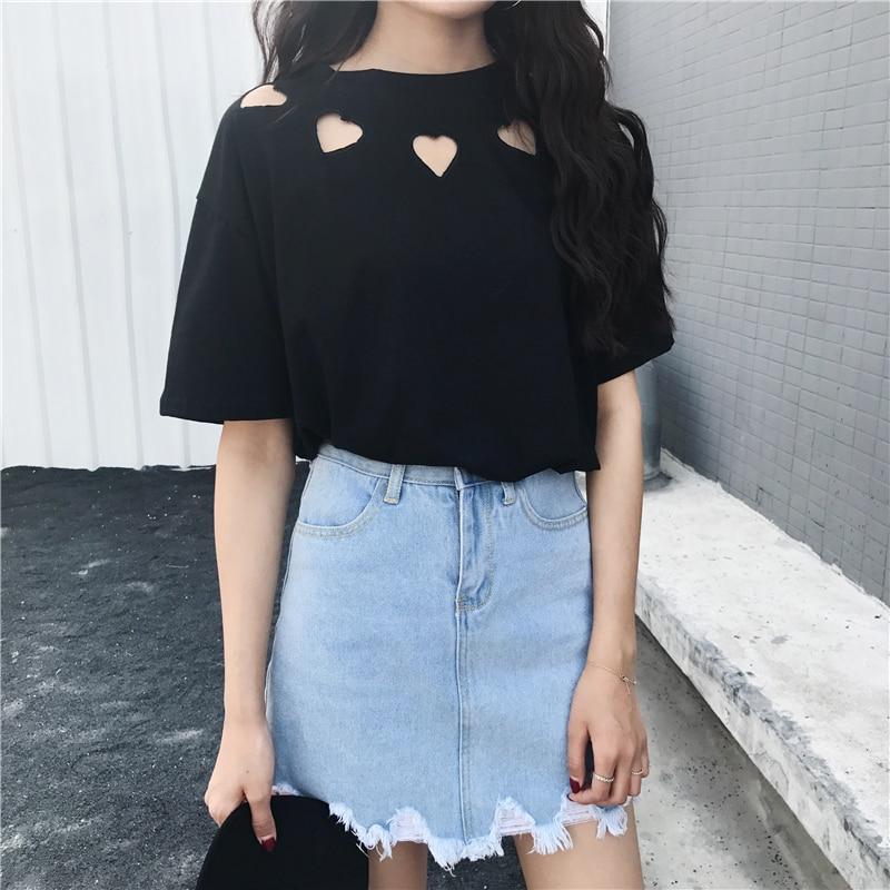 2019 Summer New kawaii heart hollow short-sleeved tee-shirt female ulzzang loose Harajuku plus size women t-shirt top