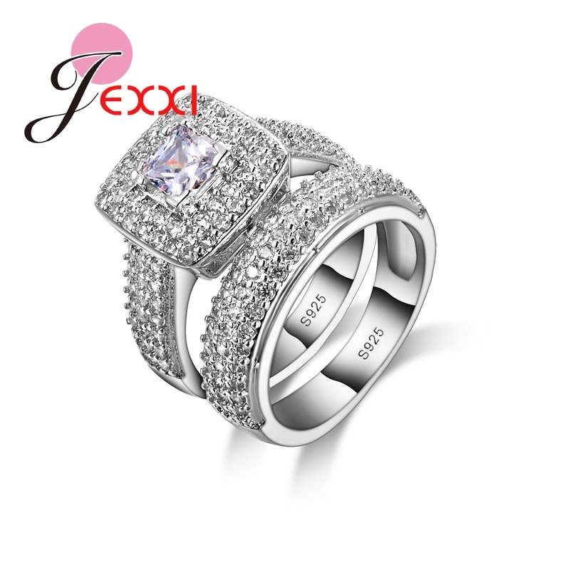 AliExpress - New Arrival 925 Sterling Silver Finger Ring Set For Females Super Luxury Gifts For Lover Beautiful Birthday Party Jewelry