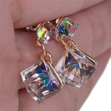 1 par de cristal duplo cubo brinco moda feminina brincos doce colorido para a beleza feminino meninas bijou jóias