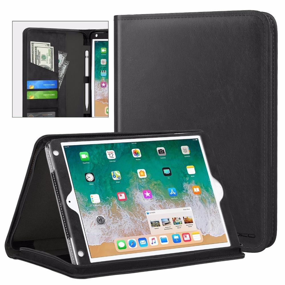 Funda MoKo para Apple iPad 9,7 pulgadas 2018/2017,iPad Air/iPad Air 2, funda ejecutiva genuina para Portafolio, funda delgada plegable con soporte