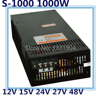 Светодиодный однофазный импульсный источник питания S-1000, 1000 Вт AC вход, выходное напряжение 12 В, 15 В, 24 В, 27 в, 48 В .. трансформатор