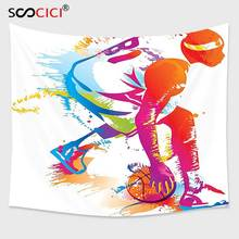Cutom-tapisserie murale suspendue   Décoration sportive, Collection de basket-ball, Silhouettes de joueurs, éclaboussures de peinture, tir de trois pointeur