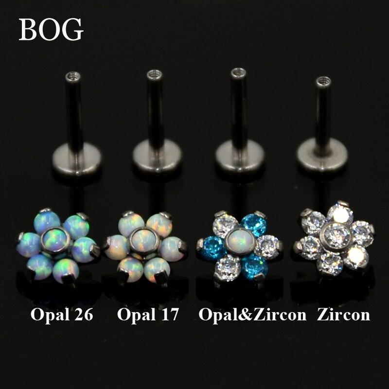 БГ-1 шт G23 титановый Опаловый цветок для ушей, хрящи, винты, винт для пирсинга, подходит для топа 16 г драгоценный камень, стержень для губ, коль...