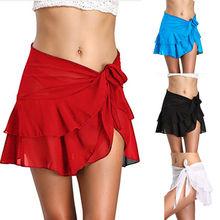 Summer Women Skirts 2018 Chiffon Beach Cover up Sarong Wear Ruffle Wrap Beach Short Skirts