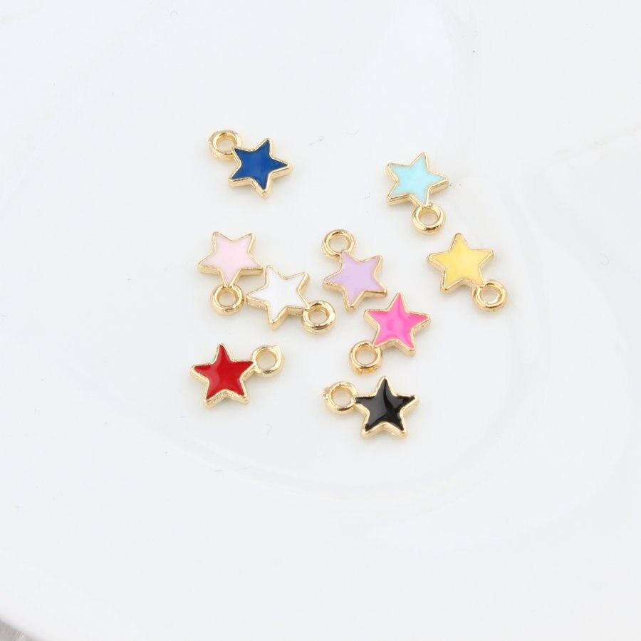 60 unids/lote gota de aceite de aleación de Zinc de colorido cinco señaló abalorio con forma de estrella para colgante encantos para fabricación de joyería DIY
