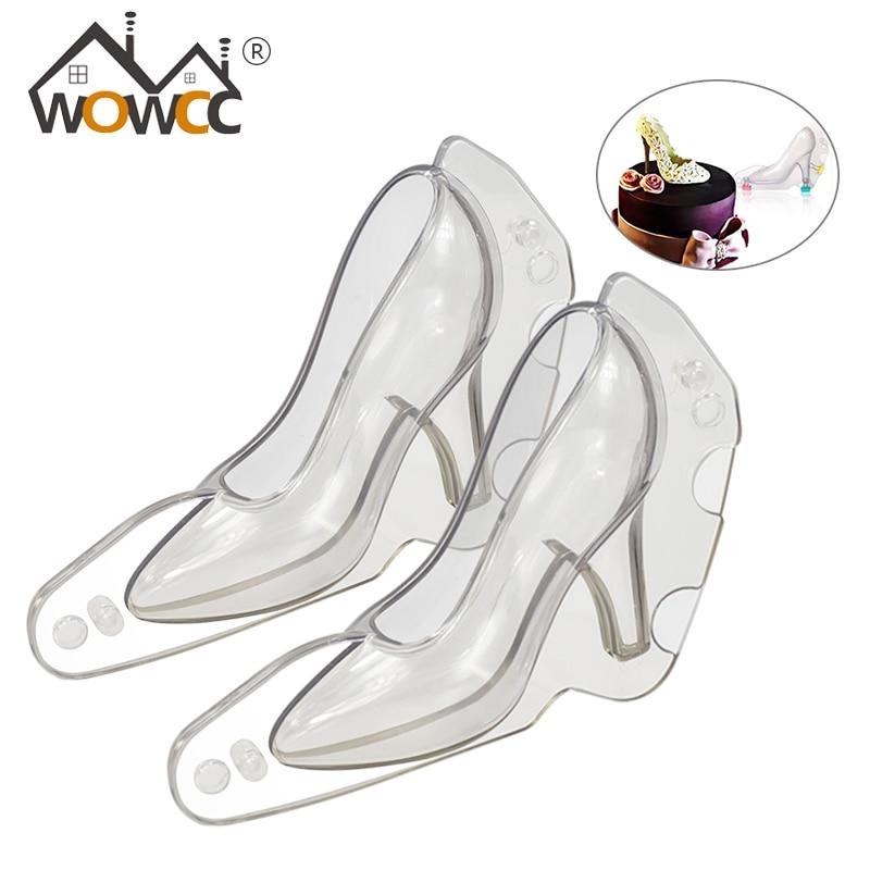 WOWCC de tacón alto 3D molde de policarbonato para chocolate zapatos de herramientas de Decoración de Pastel Hornear en Casa moldes confitería archivos adjuntos de la herramienta