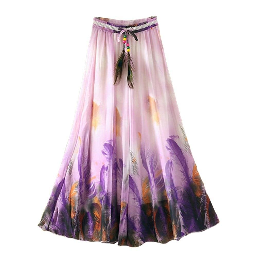 Falda de gasa para Mujer de 90CM de largo estilo bohemio Harajuku falda Casual de verano Saia ropa de playa de Mujer ropa de moda Vintage