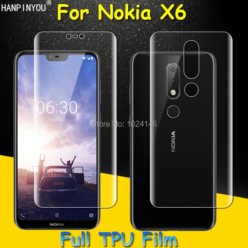 Front / Back Full Coverage Clear Soft TPU Film Screen Protector For Nokia X6 TA-1099 , Cover Curved