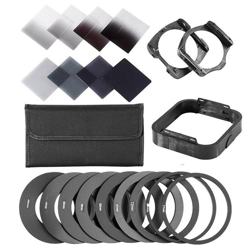Zomei gradiente de densidad neutra completo y Gradual ND filtro cuadrado Kit + anillos adaptadores para Cokin Serie P SLR lente de cámara DSLR