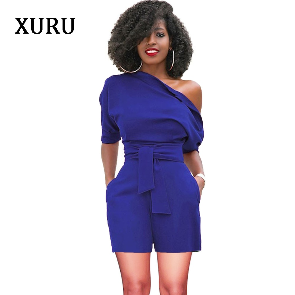 XURU Women Slash Neck Rompers Belted Button Jumpsuit Summer Solid Casual Bodycon Jumpsuit Rompers Womens Overalls