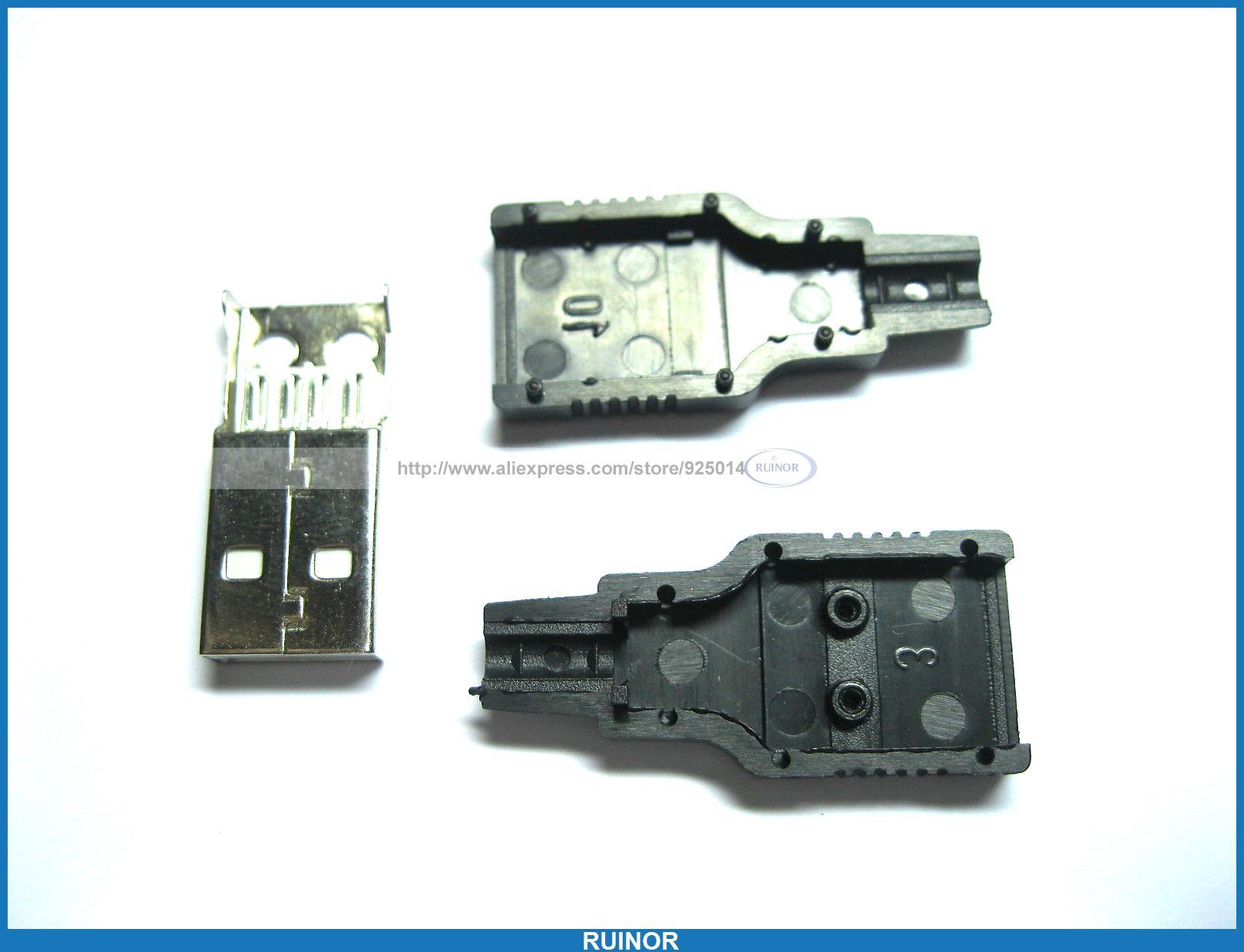 موصل قابس USB A-M ، لحام ، 3 قطع ، 4 دبابيس ، غطاء بلاستيكي أسود ، 200 قطعة