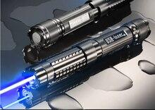 Forte puissance militaire bleu laser pointeurs 5000000m 500w 450nm lampe de poche allumette/bois sec/bougie/noir/cigarettes + 5 bouchons