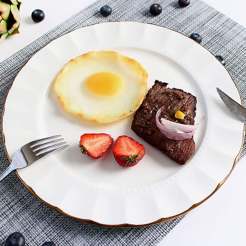 السيراميك لوحة أطباق الشمال نمط شخصية الغذاء لوحة شريحة لحم سلطة الذهب الجانب لوحة طبق أواني الطعام المنزل المائدة