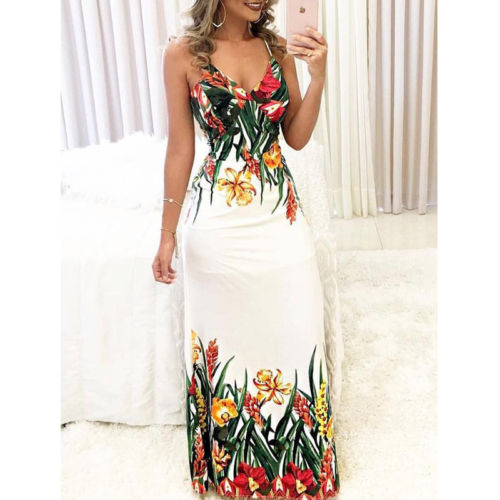 sexy Women Summer Floral Sleeveless Strap V neck Boho Dress Casual Long Maxi Evening Party Beach Dress Sundress