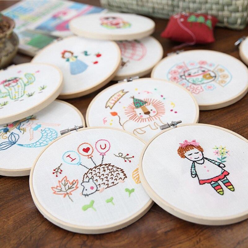DIY kit de bordado fácil para principiantes, patrón lindo de dibujos animados, 15cm con aro, costura juego de punto de cruz arte de pared, decoración del hogar