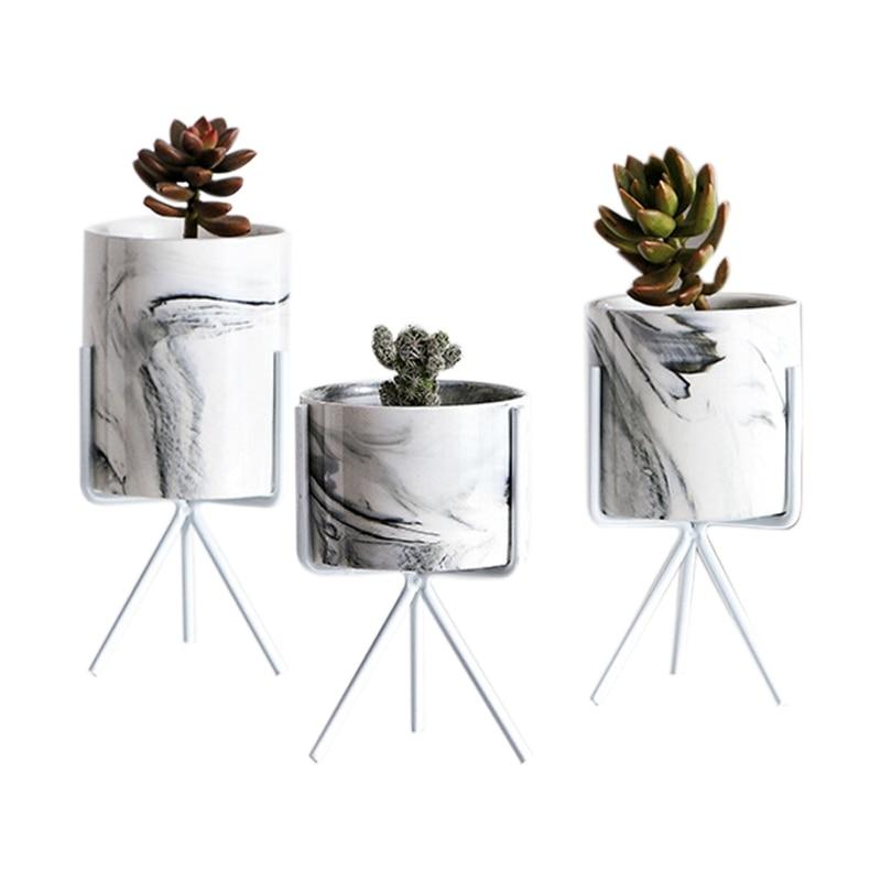 Скандинавский минимализм, мраморный узор, Золотая керамика, железная художественная ваза, настольный цветочный горшок, украшение для дома, ...