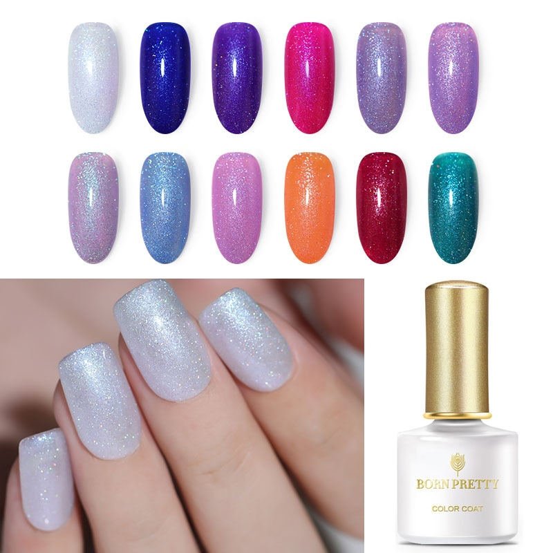 Nacido muy 6ml Arco Iris Gel UV remoje lentejuelas brillo de uñas de Gel UV LED de Arte de uñas