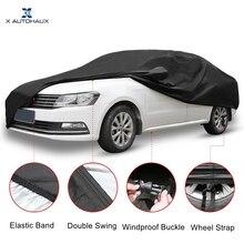 X Autohaux Black Car Cover Outdoor Weather Waterproof Breathable Scratch Rain Snow Heat Resistant Universal Car Protection