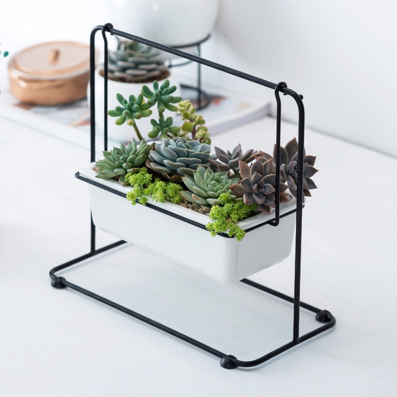 Nordic Ceramic Swing Succulents Flower Pot Wrought Iron Swing Desktop Ceramic Plant Pot Iron Frame Set Home Decor