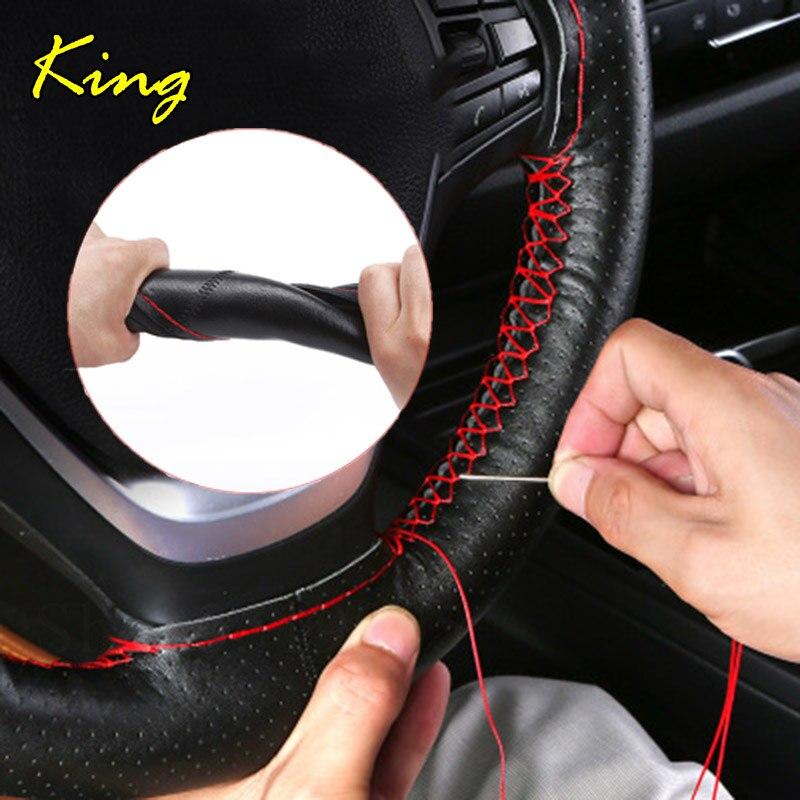DIY de cuero genuino 38 cm cubiertas de volante de coche accesorios para Mercedes Benz GLK DE LA CIA W140 GLA SLK R172 G GLC DE LA CIA CLK W209