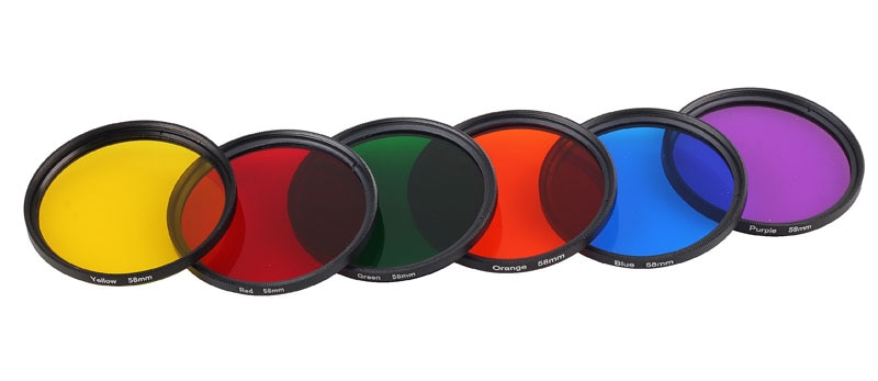 Para Canon EF 50mm f/1,4 USM/para Nikon AF-S 50mm f/1,8G 58mm Filtro de cámara gradiente rojo amarillo, naranja azul púrpura ND2 4 8