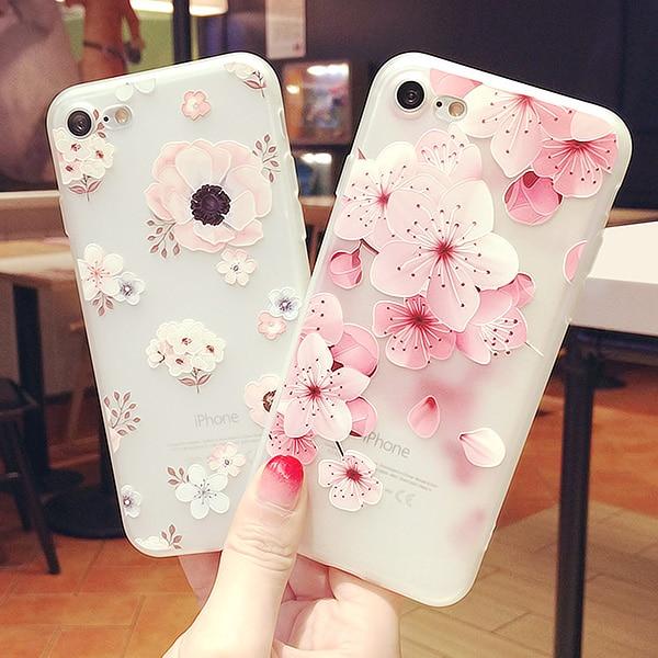 Funda para teléfono Dower Me moda romántica hermosa flor de melocotón Rosa mate suave TPU para iPhone 7X8 6 6 S Plus