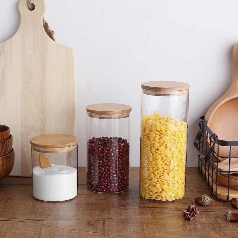 Envase hermético de aire para el hogar, frasco de cristal para comida,...