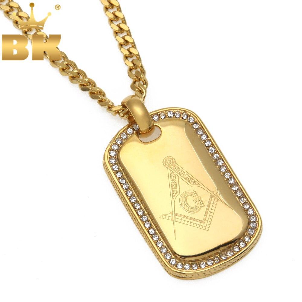 Hop Símbolo Maçônico Maçonaria Maçônico Mason da Cor do Ouro de Aço Inoxidável Colar de Pingente de Cão Tag Jóias Drop Shipping