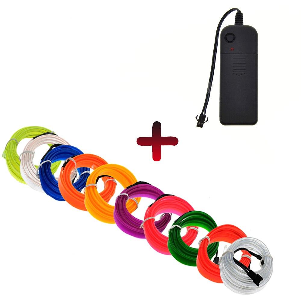 El fio néon luz dança festival led tira el luzes com controlador de bateria flexível carro luz 2.3mm com 6mm borda costura