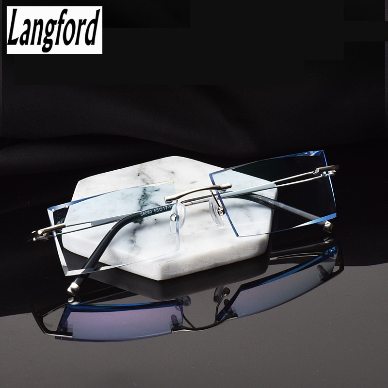 Handmade diamond cutting glasses rimless glasses frame flat prescription prescription glasses frame