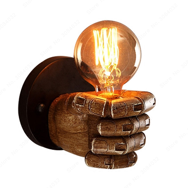 BDBQBL هجر الفاظ لوفت مصابيح الحائط قبضة الراتنج صناعة ضوء الجدار الجدار شنت بهو الحمام نحت واضح الزجاج الإضاءة