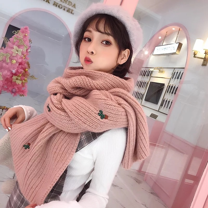 Mingjiebihuo nova moda cachecol feminino inverno coreano estudantes selvagem malha longo grosso quente harajuku estilo pequeno fresco colar de lã