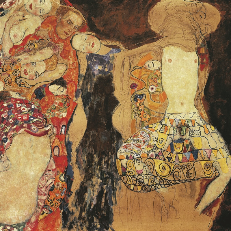 Lienzo de paisaje desnudo pintura paisaje impresiones poster arte en casa imagen adorna a la novia con velo y corona de Gustav Klimt