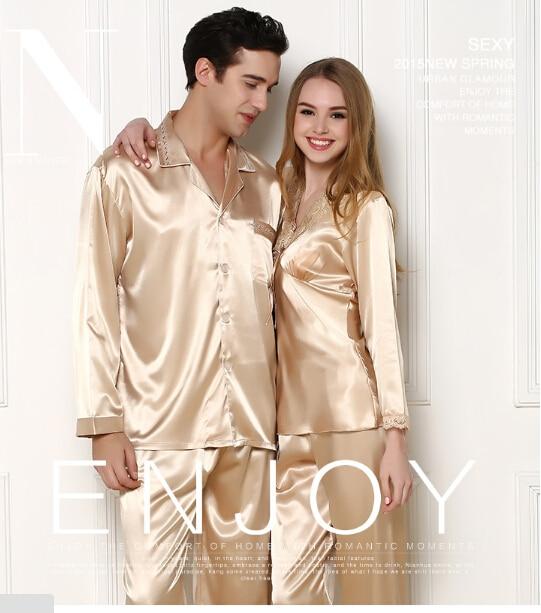 2021 جديد فاخر الرجال بيجامة من الحرير مجموعات زوجين ثوب النوم المرأة قمصان النوم عشاق ملابس خاصة المنزل بيجاما المتسكعون