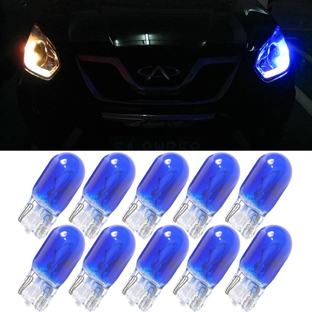 10 Uds. T10 W5W W3W color azul 12V 3W cuñas fuente de luz del coche instrumento luces halógenas lámpara de calidad OEM