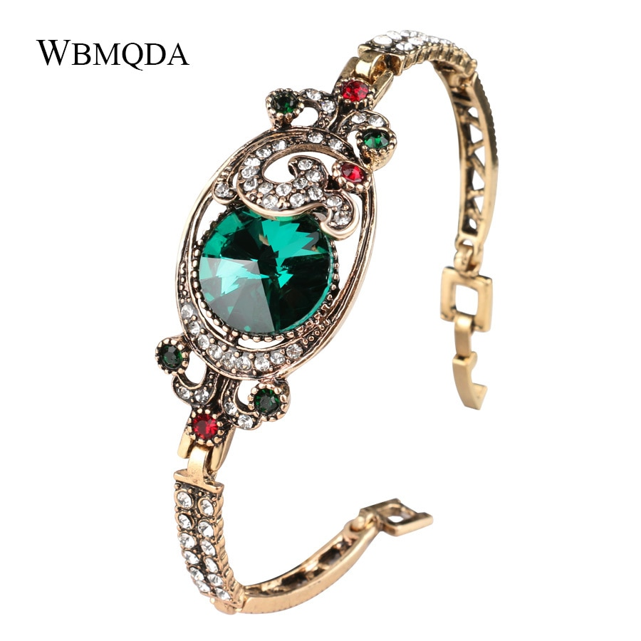 Wbmqda Luxury Vintage Green Satellite Stone Bangles Antique Gold Color Crystal Turkish Bracelets For Women Bijoux Femme Gifts